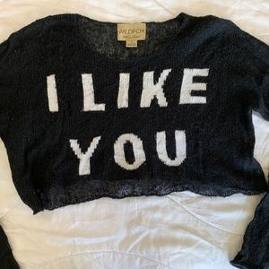 "WILDFOX Cropped ""I LIKE YOU"" Sweater"